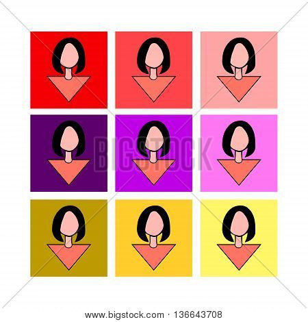 The girl with fashionable hairstyle, vector set