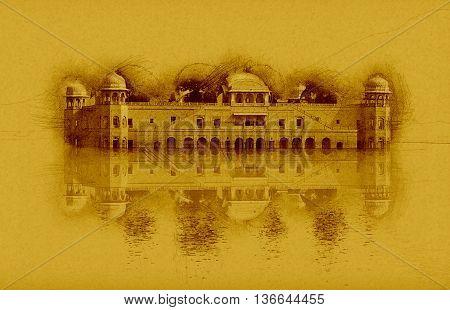 Sketch of Jal Mahal Rajasthan Jaipur India