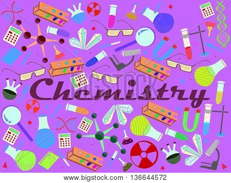 Vector line art Doodle set of cartoon characters and objects Chemistry.