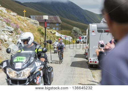 Col de la Croix de Fer France - 25 July 2015: Nairo Quintana in White Jersey climbing to the Col de la Croix de Fer in Alps during the stage 20 of Le Tour de France 2015.
