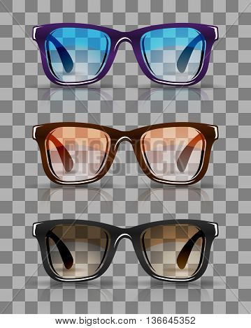 Realistic hipster sunglasses set, vector illustration for your design, eps10, 4 editable layers