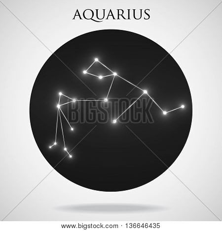 Constellation aquarius zodiac sign isolated on white background