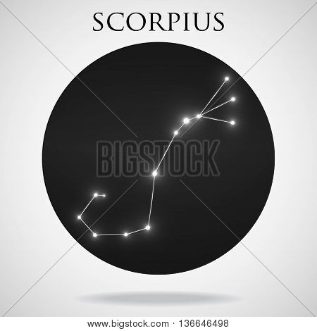 Constellation scorpius zodiac sign isolated on white background