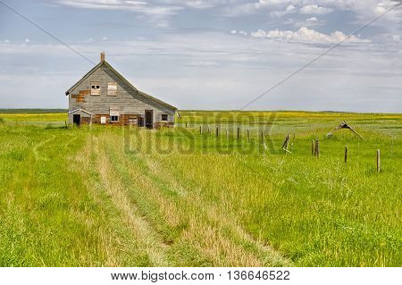 Abandoned home on the prairie in Dorothy, Alberta, Canada