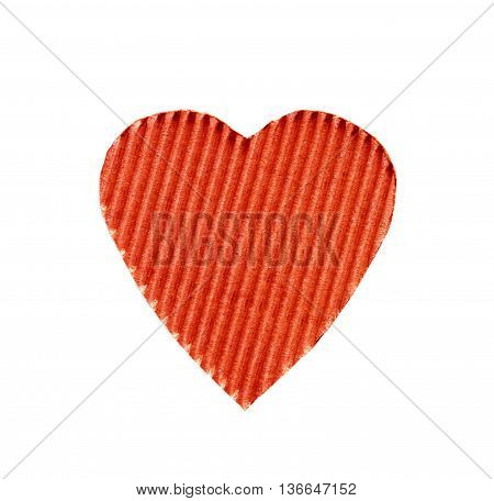 the symbol of a heart cut from corrugated cardboard red color isolated on white background. the concept of love Valentine's day