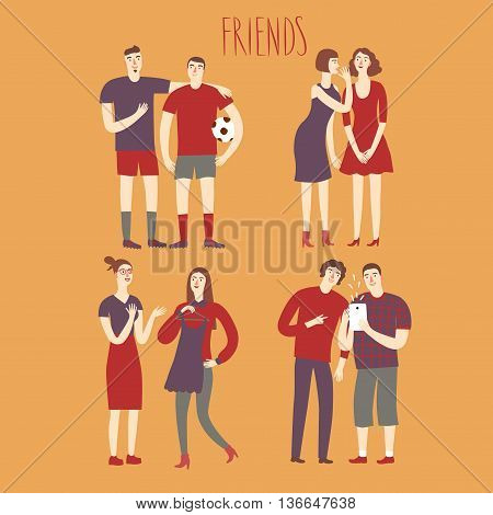 Set of cartoon boys and girls friends in various lifestyles. Characters illustrations for your design.