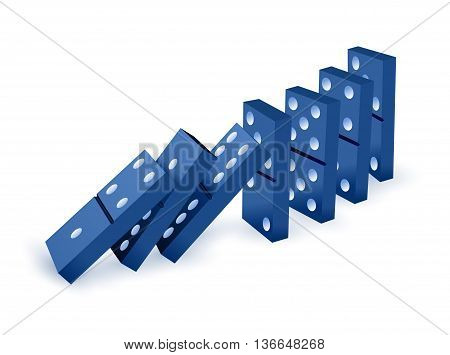 Falling dominoes. Blue Icon game of dominoes. Board game Domino. Domino icon vector for web. Push domino.