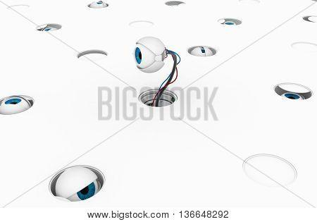 Robotic round eyeballs white surface hidden 3d illustration horizontal