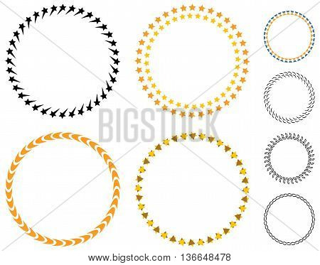Circle template badge. Round empty medal stars. Color vector empty badge spike
