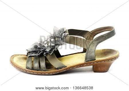 Old nice woman shoes isolated on white