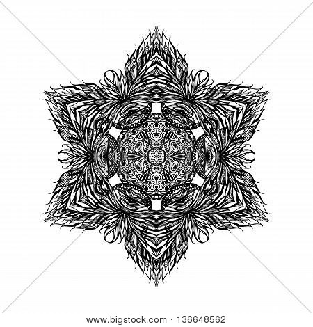 Patterned decorative element star on white background