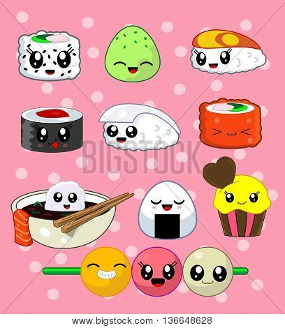 Cute kawaii sushi with cute faces. Sushi roll set with cake, california roll, sake, ika, tekka, masago, rise ball, udon . Japanese food, vector illustration set. Second from three
