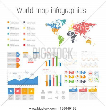 Set of colored infographics elements. Detail infographic vector illustration. World Map and Information Graphics.