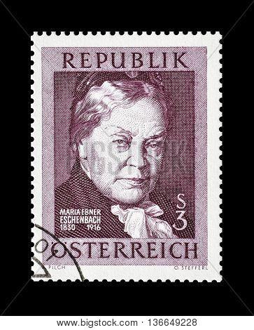 AUSTRIA - CIRCA 1966 : Cancelled postage stamp printed by Austria, that shows Marie von Ebner Eschenbach.