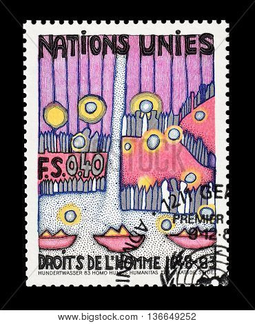 UNITED NATIONS -  CIRCA 1983 : Cancelled postage stamp printed by United Nations, that shows drawing promoting Human rights.