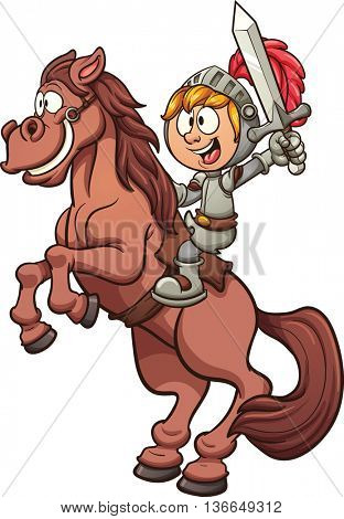 Cartoon knight riding a horse. Vector clip art illustration with simple gradients. Horse and knight on separate layers.