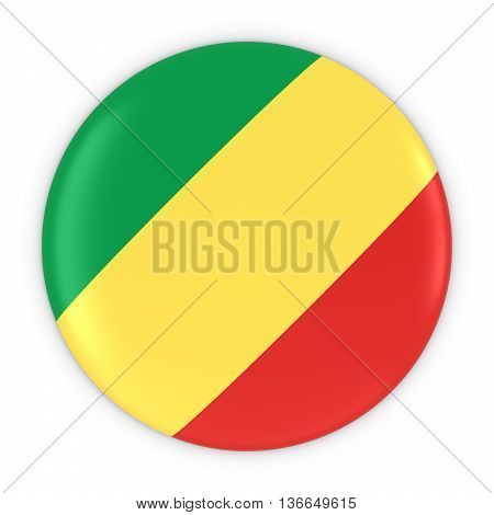 Congolese Flag Button - Flag Of Congo Badge 3D Illustration
