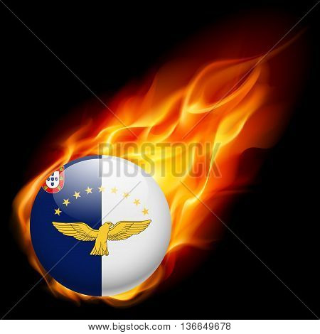 Flag of Azores as round glossy icon burning in flame