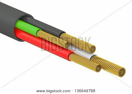 USB cable cutaway 3D rendering isolated on white background