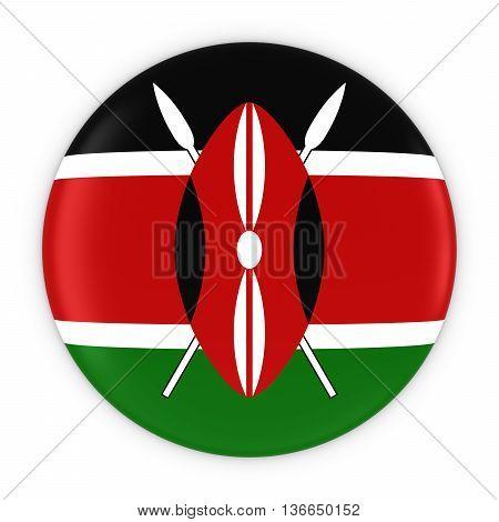 Kenyan Flag Button - Flag Of Kenya Badge 3D Illustration