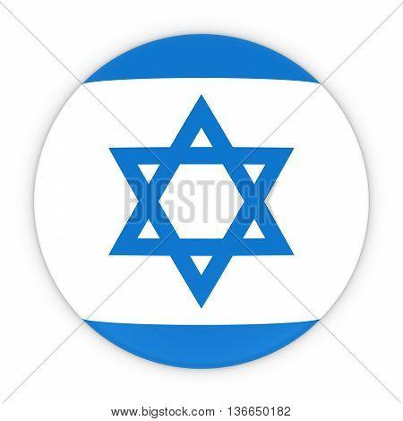 Israeli Flag Button - Flag Of Israel Badge 3D Illustration
