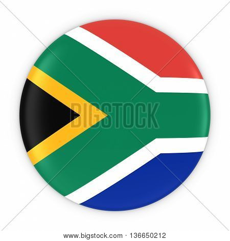 South African Flag Button - Flag Of South Africa Badge 3D Illustration