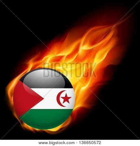 Flag of Sahrawi Arab Democratic Republic as round glossy icon burning in flame