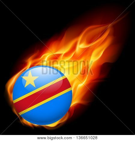 Flag of Democratic Republic of the Congo as round glossy icon burning in flame