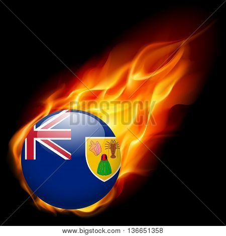 Flag of Turks and Caicos Islands as round glossy icon burning in flame