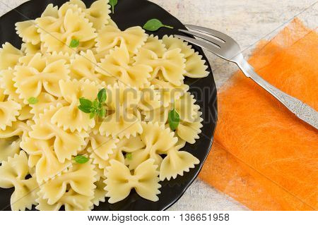 Bow Tie Farfalle Pasta Served On A Plate