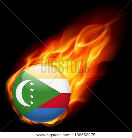 A round badge in the colours of The Comoros islands flag burning in flame