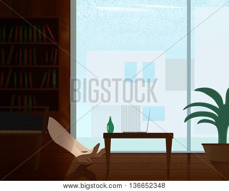Woman relaxing during work in private office