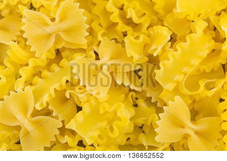 Uncooked Bow Tie Farfalle Pasta Background