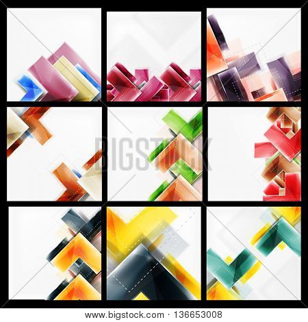 Set of arrow abstract geometric backgrounds. universal blank templates with copyspace