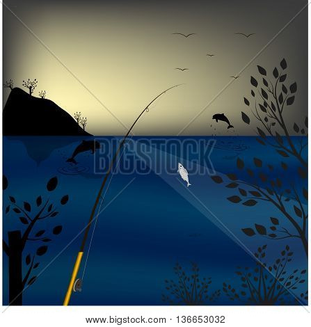 fishing in the sea. Background dawn. Jumping dolphins. Vector illustration