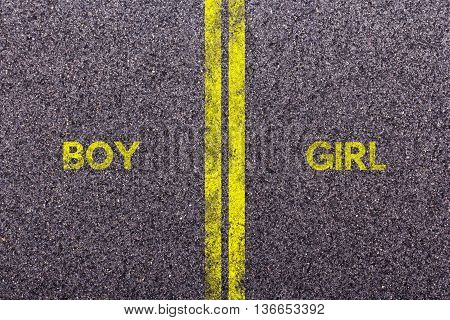 Tarmac With The Words Boy And Girl