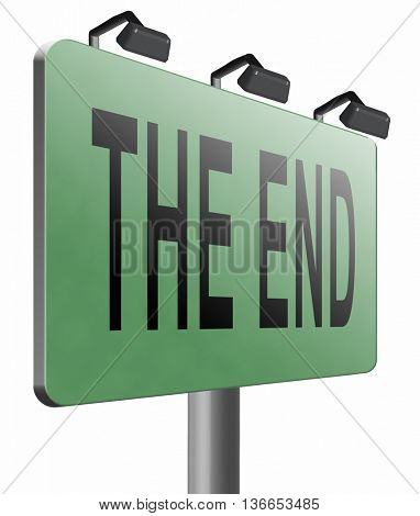 the end road sign to finish point way out, 3D illustration, isolated on white