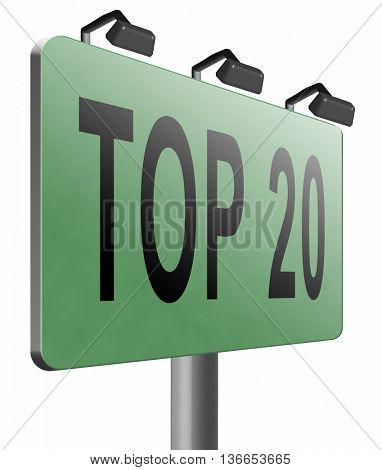 top 20 charts list pop poll result and award winners chart ranking music hits best top twenty quality rating prize winner sign, 3D illustration, isolated on white