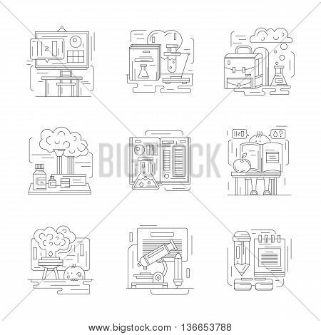 Chemistry science at school. Classroom, learning, laboratory workspace and chemical equipment. Educational research concept. Set of detailed flat line vector icons. Web design elements.
