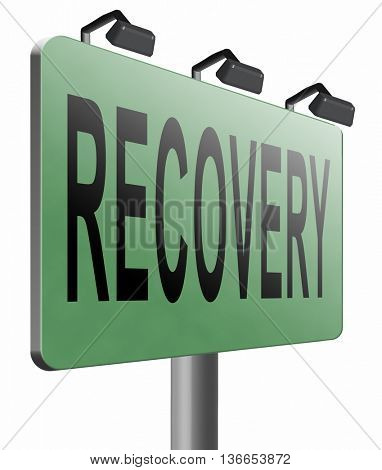 Recovery recover lost data economy recovering, 3D illustration, isolated on white