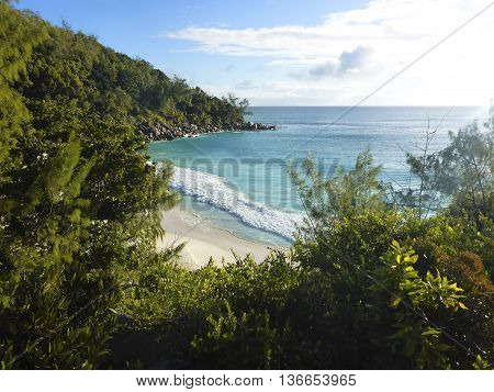 Beautiful View To The Beach Of Anse Georgette, Seychelles