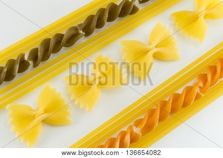 Spaghetti Forming Shapes On White Background