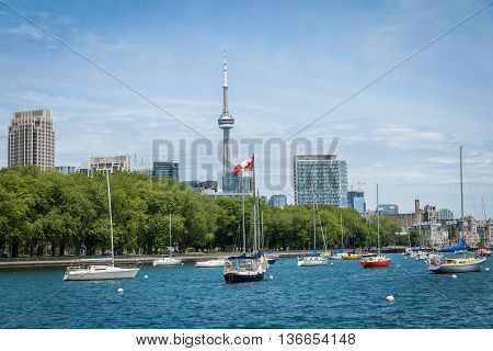 cityscape of Toronto in Canada the view of Lake Ontario
