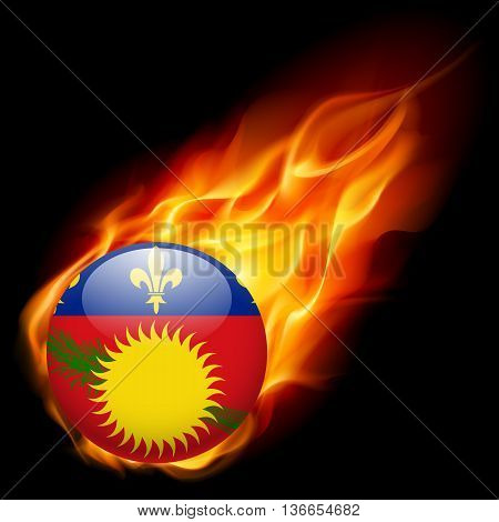 A round badge in the colours of Guadeloupe islands flag burning in flame