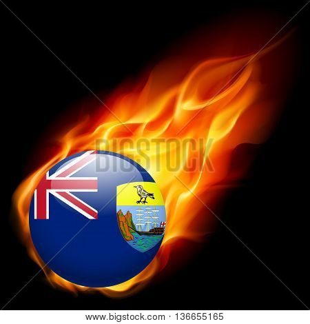 A round badge in the colours of Saint Helena flag burning in flame