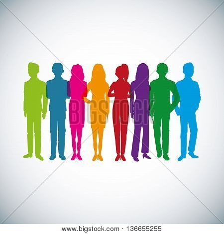 Businesspeople concept represented by silhouette of woman and man avatar icon. Isolated and flat illustration
