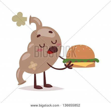 Stomach full of fast food weight disease overweight snack. Fast food sick stomach health fat hamburger diet junk. Unhealthy fast food stomach nutrition overweight burger man vector organ.
