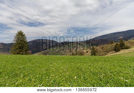 Carpathian mountains and plains in the early spring