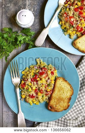 Quinoa Salad With Bell Pepper,tomatoes,red Onion,sweet Corn And Parsley.