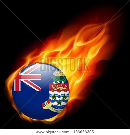 Flag of Cayman Islands as round glossy icon burning in flame